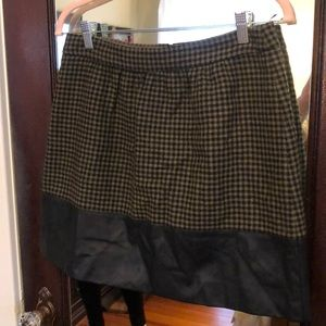 JCrew houndstooth and faux leather skirt